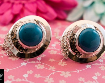 Turquoise Earrings, Sterling Silver