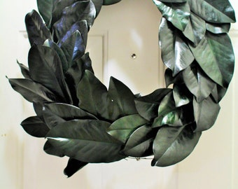 Magnolia Wreath , Preserved Magnolia Wreath ,  Year Round Wreath , Green Magnolia Leaf Wreath , Magnolia Door Wreath