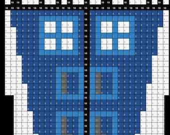 TARDIS Coffin Doctor Who Inspired Perler Bead Sprite Pixel Pattern Instant Digital Download