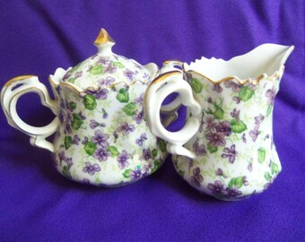 Violets Creamer and Sugar Bowl - Lefton China