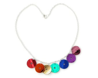 Rainbow sequin necklace, laser cut mirror acrylic
