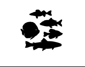 fish set svg dxf file instant download silhouette cameo cricut clip art