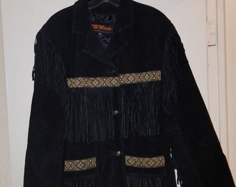 3B West by Tansmith Women's 2X Black Leather Suede Fringe Western Jacket