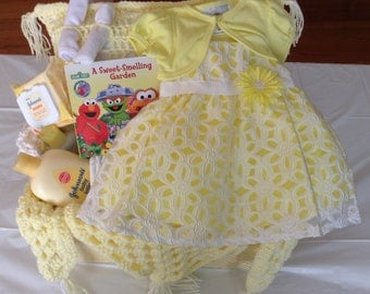 Yellow and White Handmade Baby Shower Crochet Gift Basket With Pillow, Dress, Body Wash, Lotion, Book & More