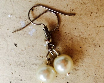 Earrings white and silver, Pearl series precious