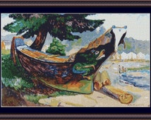 Canadian Landscape Cross Stitch Pattern, Emily Carr, Indian War Canoe, Instant Counted Cross Stitch Chart, PDF Digital Download
