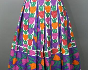 VINTAGE 50s TULIP print pleated skirt Fias Italy