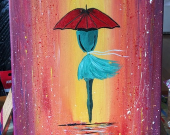 girl with umbrella (acrylic on canvas)