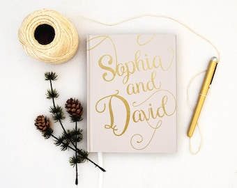 Wedding Guest Book Personalized Gold Guest Books Custom Guestbook Modern Wedding Script Faux Gold Foil Wedding - Ivory