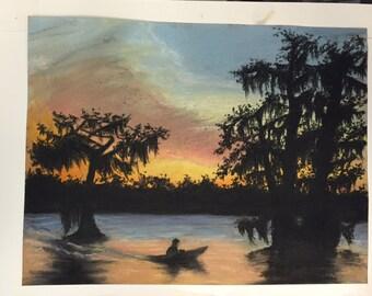 oak chalk pastel drawing, louisiana bayou