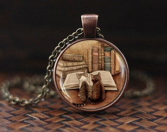 Vintage books and cat pendant necklace, Book lover necklace, Books jewelry, librarian gift, writer teacher gift, Bibliophile gift