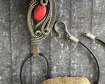 Red Moon Pendant - Two tone Wire woven pendant with a red howlite bead
