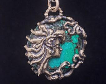 3D printed bronze pendant, bronze necklace, bronze pendant with stone, bronze pendant with turquoise,  Art Nouveau Style