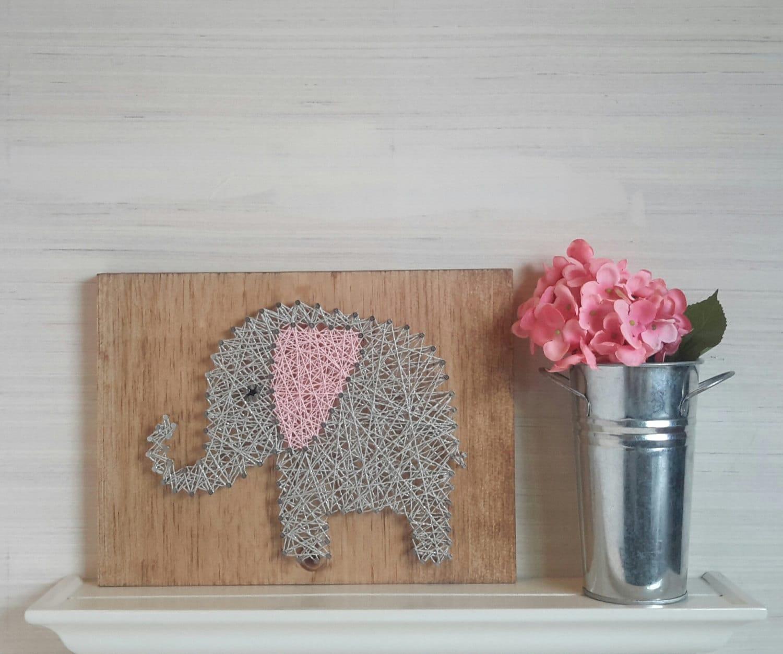 Baby Elephant String Art Wooden Wall Art For Girls Nursery