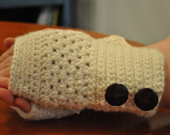 Beige Fingerless Gloves with Leather Buttons 1500197