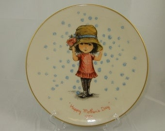 Vintage Moppets Mother's Day Plate 1974, Gorham Fine China, Second in Series, Holly Hobby Moppet Style, Litte Girl with Big Hat