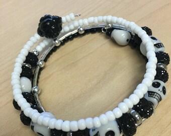 Black & White Skull Wrap Bracelet