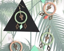 Tropical earrings / cactus / silver / mint / pink quartz / woven jewel / chic bohemian / sheep dreamer / CERKIO TROPIKAL KAKTUS