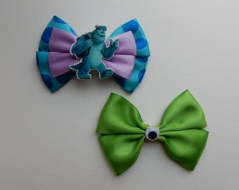 Monsters, Inc bows, Sulley bow, Mike Wazowski bow