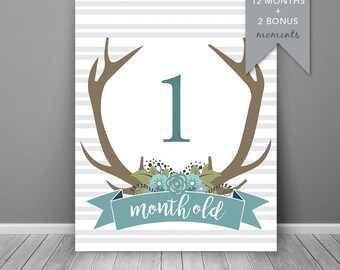 Antler Boys Baby Milestone Card Blue | Instant Download | Printable Card | Milestone Photo Prop | Baby Age Sign | Month Prop |  Month Sign