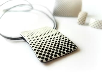 Black and white polka dot necklace, Cute necklace for her, Polka dot jewelry, Contemporary jewelry, Dotted necklace, Fashion necklace