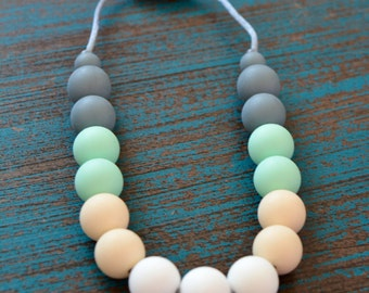 Toddler Teething Necklace, Mint and Gray, White and Cream, Sensory Necklace, Baby Silicone Teething Necklace, BPA free, Baby Shower Gift