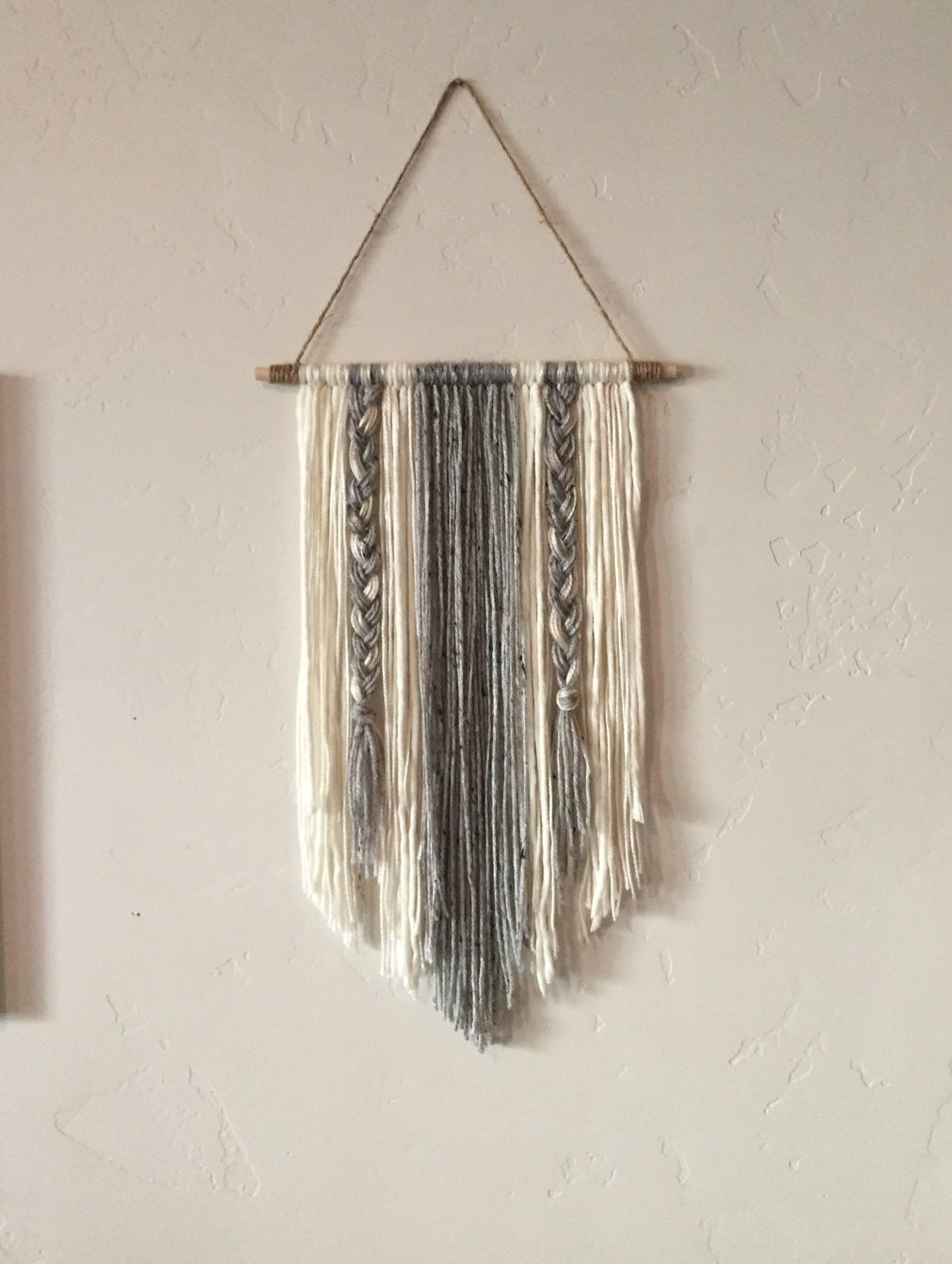 Modern yarn wall hanging gray and ivory for Art craft wall hanging