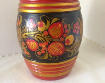 "Vintage 1980's Russian/Soviet Hand-Painted Folk Art Lacquer Wood Jar With Lid-""KHOKHLOMA""--Black Background Decorated With Red Pommegranites"
