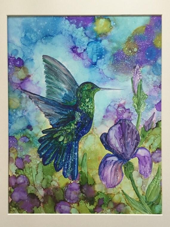 Original Humming Bird Among The Irises Alcohol Ink