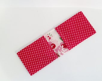 Red Bus Pass Holder / Oyster Card Holder/ Business Card Holder - With White Polka Dots and a Floral Lining - Gift for Her