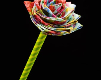 Teal Bloom Print Customizable Duct Tape Rose!