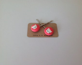 Kitty cat fabric covered button bobby pin pair