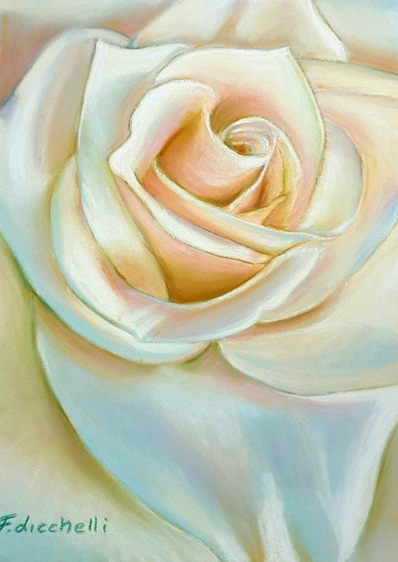 Rose drawing, original pastel, ooak, soft pastels on paper, gift idea for non and grandma, wall art, bedroom, contemporary home decoration.