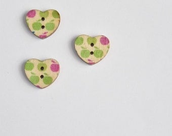 Green Apple Button - Red Apple Button - Heart Button Valentines Day - Red Button - Wood Buttons - Flat Back Buttons - Wooden Buttons