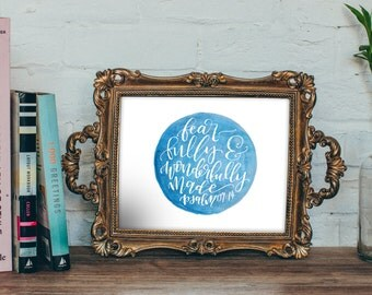 Psalm 139:14 Printable - Fearfully & Wonderfully Made - Watercolor Instant Download