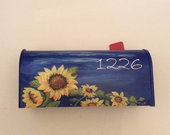 Hand painted mailboxes sunflower, blue, yellow, white, wedding rustic western card mailbox, gift, custom, personalized,  sunflower wedding