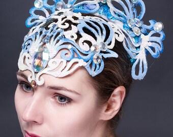 White with blue performance carnival headdress. Tribal headwear. Oriental headwear. !!!ONLY TO ORDER!!!