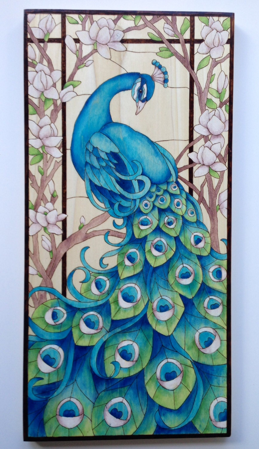 Peacock designs for glass painting - photo#8