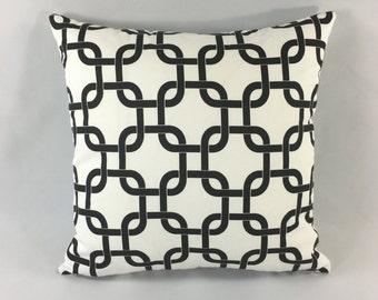 Black Chain-link Pillow Cover - Gotcha White Black Print - Decorative Throw Pillow Cover - Accent Pillow -Premier Prints -Hidden Zipper