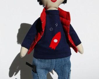Unique fabric boy doll, natural fabric soft doll