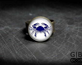 Cancer Ring Adjustable Zodiac Ring Cancer Zodiac Statement Ring Zodiac Cancer Ring Zodiac Cancer Birthday Gift Jewelry Cancer Ring Jewelry