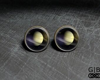 ON SALE Saturn Studs Planet Saturn Studs Earrings - Planet Saturn Earrings Studs - Saturn Rings Studs Solar System Studs - Solar System Satu
