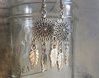 Boho Earrings Chandelier Earrings Bohemian Earrings Silver Earrings Earrings with feathers Tribal Earrings Long Earrings Native American