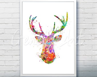 Antler Stag Deer Watercolor Art Print  - Watercolor Painting - Animal Watercolor Art Painting - Antler Stag Deer Poster - Wall Decor [2]