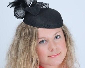 Black Cabaret Fascinator, Black Occasion Headpiece, Black Occasion Fascinator, Party Hat