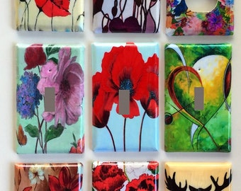 Abstract  Retro Flowers Themed and More Switch and Outlet Covers