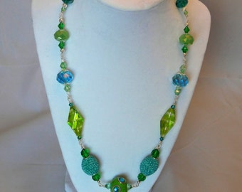 Tropical Sparkle in hues of lime green and teal beaded necklace!