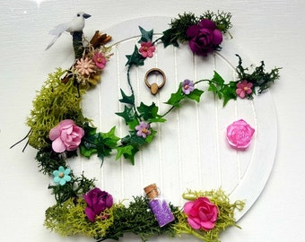 Fairy Door, Woodland Fairy Door, White Tooth Fairy Door, Hobbit Door, Pixie Portal Faerie Door, Fairy Door With Flowers