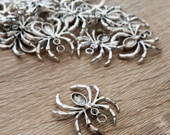 Silver Spider Charms Pendants Large x 3 Goth Gothic Jewellery Making Suppplies