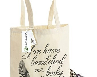 Jane Austen's Mr Darcy Tote Bag - You Have Bewitched Me Body & Soul - Pride and Prejudice Quote, Bag for Life, 1001